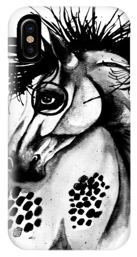 Horse IPhone X Case featuring the painting Lend Me Sight by Shanna Stott