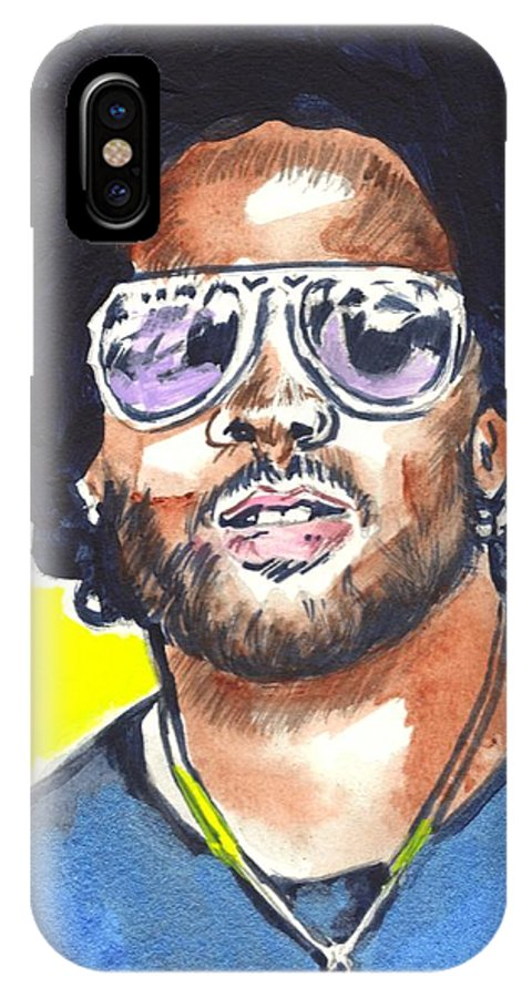 Lenny Kravitz IPhone X Case featuring the painting Lenny Kravitz by Bryan Bustard