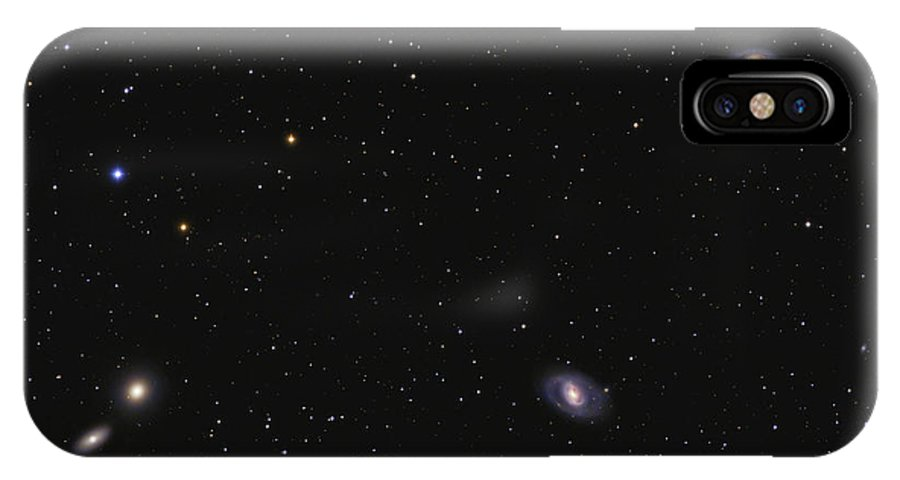 Horizontal IPhone X Case featuring the photograph Leo I Galaxy Cluster Showing Messier by Lorand Fenyes