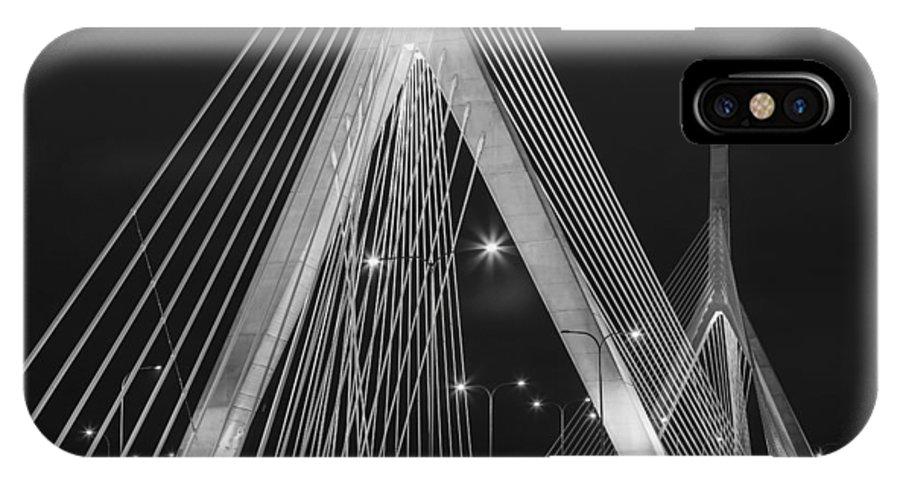 Zakim IPhone X Case featuring the photograph Leonard P. Zakim Bunker Hill Memorial Bridge Bw by Susan Candelario