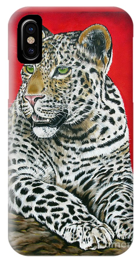 Leopard IPhone X Case featuring the painting Leopard by Ilse Kleyn
