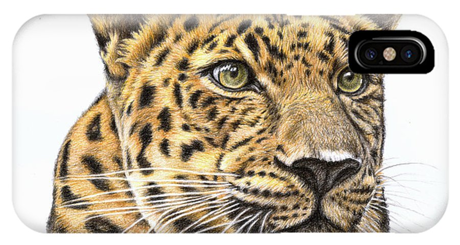 Leopard IPhone X Case featuring the drawing Leopard by Nicole Zeug