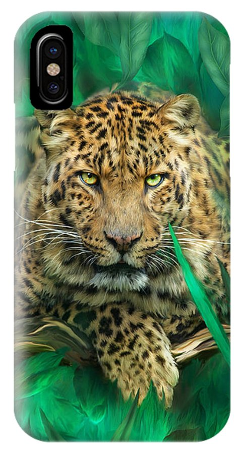 Leopard IPhone X Case featuring the mixed media Leopard - Spirit Of Empowerment by Carol Cavalaris