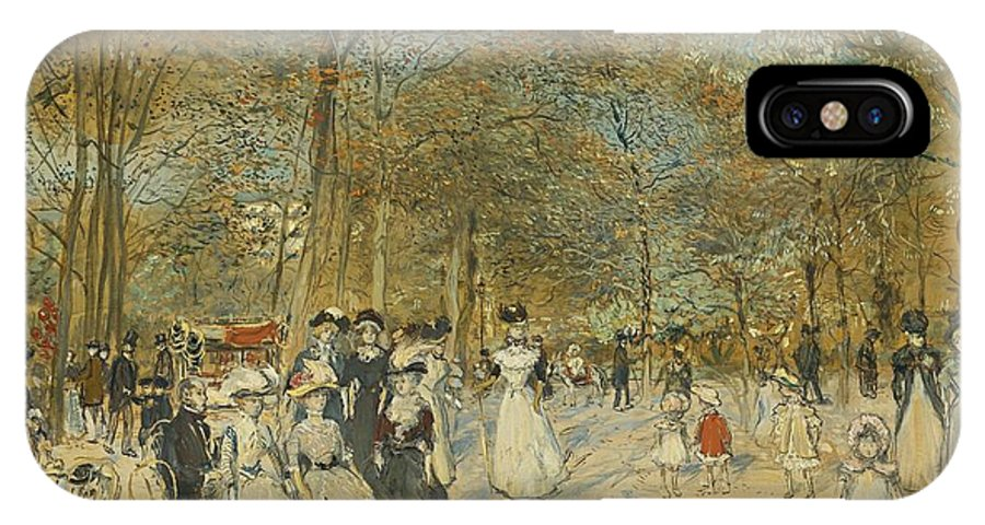 Jean-francois Raffaelli 1850 - 1924 Les Champs-elysees IPhone X Case featuring the painting Les Champs-elysees by Celestial Images