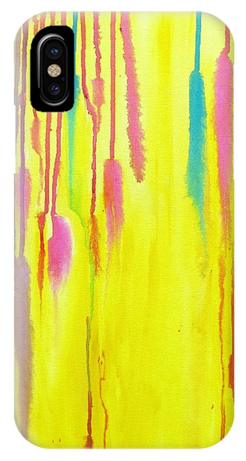 Yellow IPhone X Case featuring the painting Let It Flow by Artistic Indian Nurse