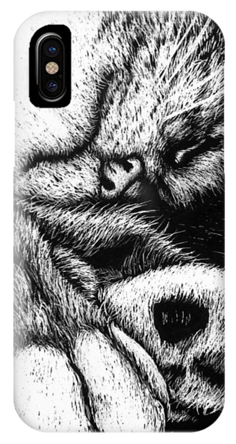 Cat IPhone X Case featuring the drawing Let Sleeping Cats Lie by Monique Morin Matson
