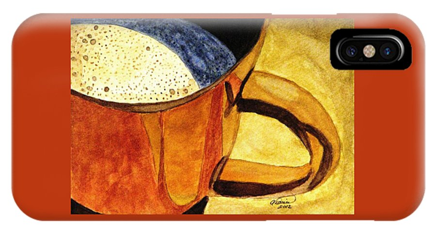 Coffee IPhone X / XS Case featuring the painting Let's Have A Cuppa by Angela Davies