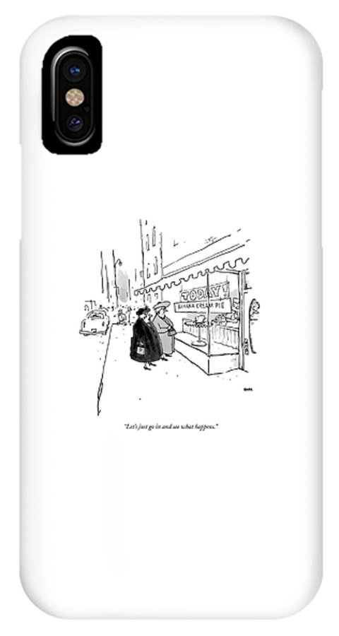 10/20 IPhone X Case featuring the drawing Let's Just Go In And See What Happens by George Booth