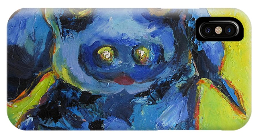 Blue Dog IPhone X Case featuring the painting Let's Play by Patricia Curtis