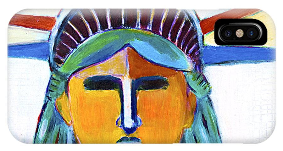 Nyc IPhone X Case featuring the painting Liberty In Colors by Habib Ayat