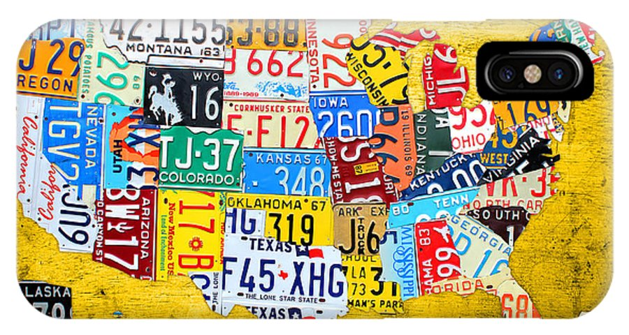 License Plate United States Map.License Plate Art Map Of The United States On Yellow Board Iphone X