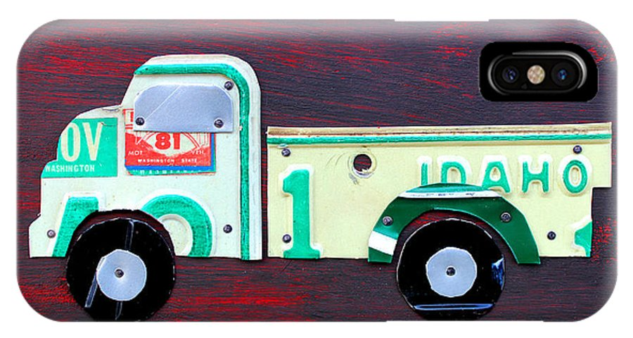 License Plate Art Pickup Truck Kids Room Decor Fun Boy Child License Plate Map IPhone X Case featuring the mixed media License Plate Art Pickup Truck by Design Turnpike