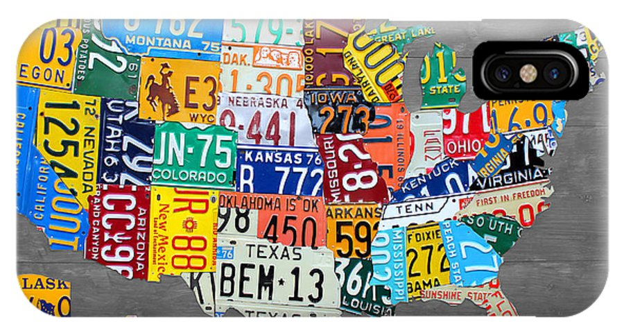 License Plate United States Map.License Plate Map Of The United States On Gray Wood Boards Iphone X