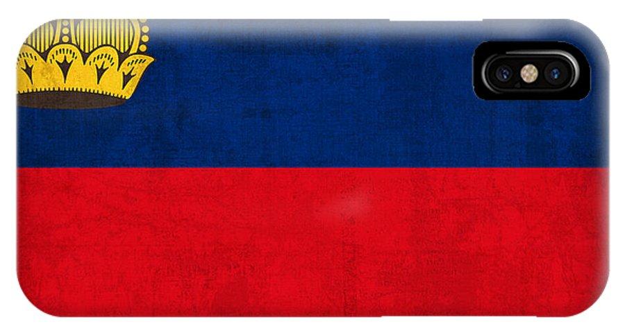 Liechtenstein IPhone X / XS Case featuring the mixed media Liechtenstein Flag Vintage Distressed Finish by Design Turnpike