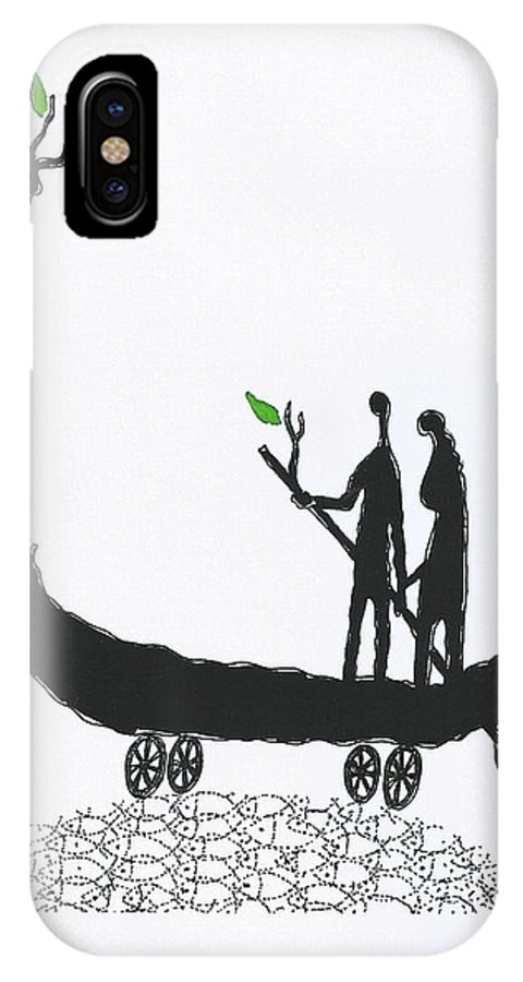Love Card IPhone X Case featuring the drawing Life Boat With You by Victor Koryagin