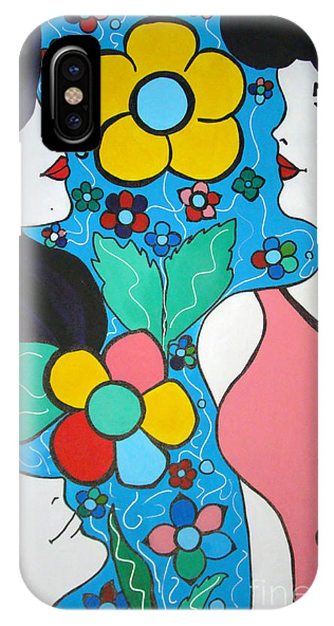 Pop-art IPhone X Case featuring the painting Life is Beautiful by Silvana Abel
