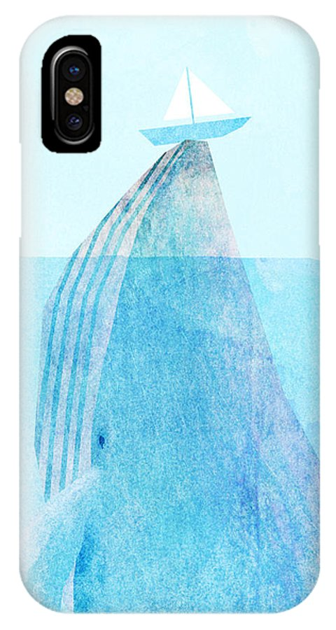 Whale IPhone X Case featuring the drawing Lift by Eric Fan