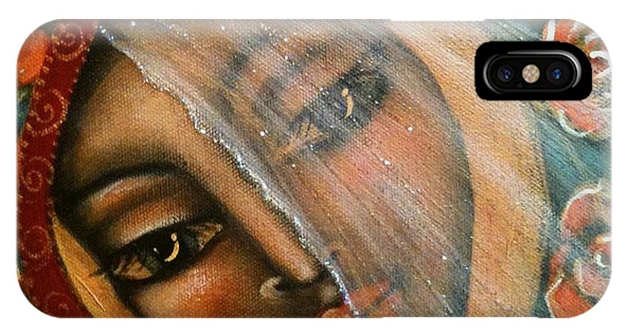 Contemporary Symbolism IPhone X Case featuring the painting Lifting The Veil by Maya Telford
