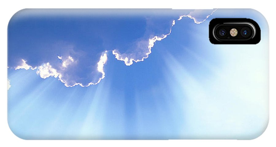 Light Rays IPhone X / XS Case featuring the photograph Light Beams From Cloud by David N Davis