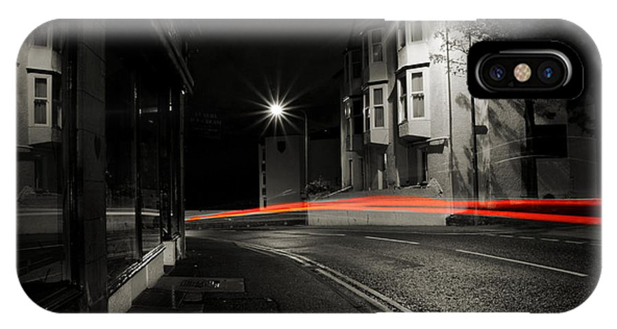 Black And White Colour Light Trails IPhone X Case featuring the photograph Light Bending by Gerald Farrar