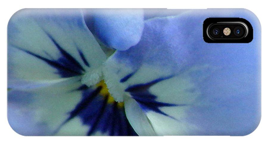 Blue IPhone X Case featuring the photograph Light Blue Viola by Brenda Parent