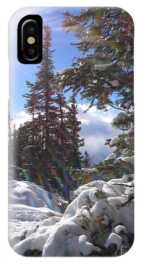 Landscape IPhone X Case featuring the photograph Sunburst Banff Mountain Top Calgary Canada. by Orla Madden