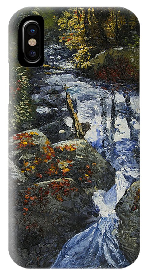 Landscape IPhone X Case featuring the painting Light Flittering Downstream by Peter Muzyka