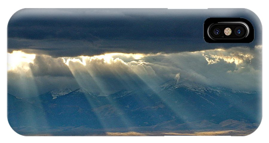 Dark Clouds IPhone X Case featuring the photograph Light From The City Above by Gerry Childs