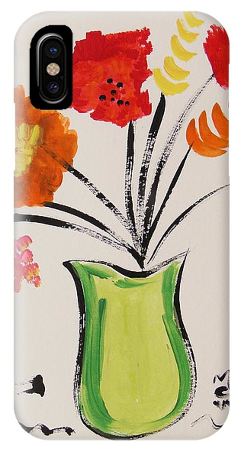 Light Green Vase IPhone X Case featuring the painting Light Green Vase by Mary Carol Williams