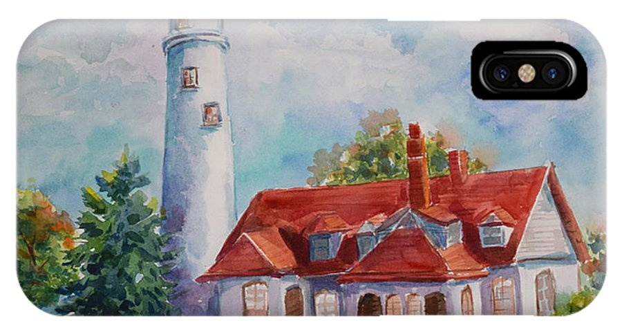 IPhone X Case featuring the painting Light House, Wisconsin by Jyotika Shroff