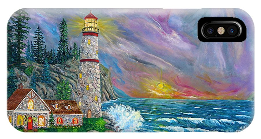 Lighthouse IPhone X Case featuring the painting Light Into Darkness by Mike De Lorenzo