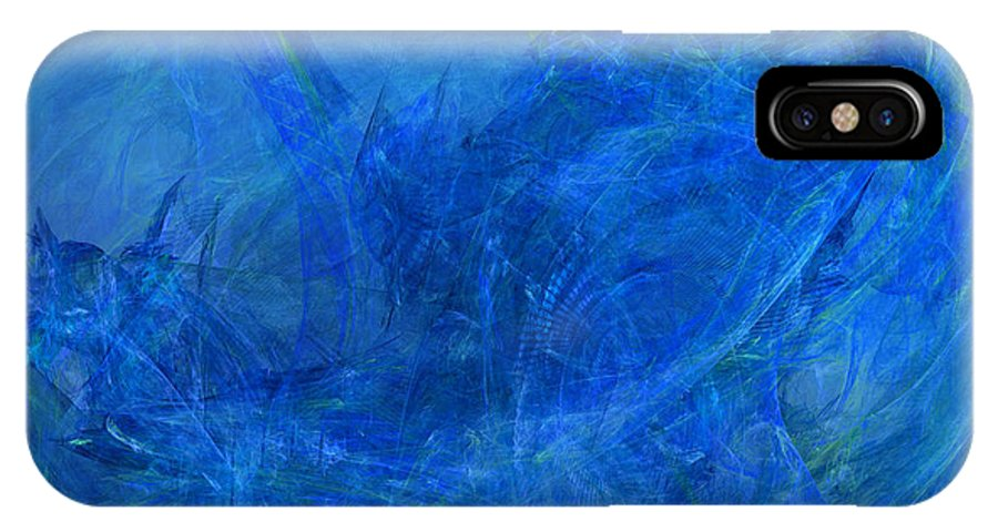 Abstract IPhone X Case featuring the digital art Light It Up Blue by Jeff Iverson