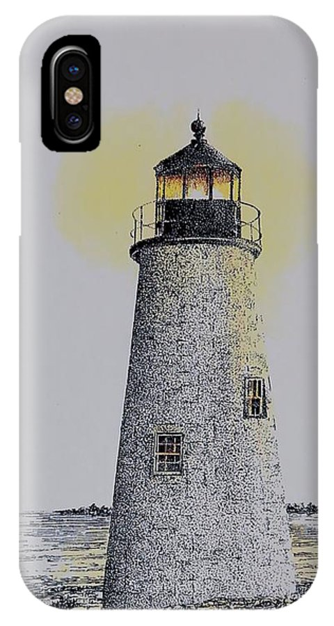 New England Lighthouse Seascape Landscape Pen & Ink Watercolor Coastline Connecticut IPhone X Case featuring the painting Light On The Sound by Tony Ruggiero