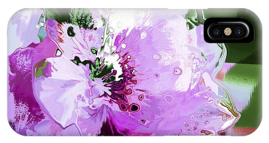 Digital Art IPhone X Case featuring the digital art Light Pink Flower by William Durfey