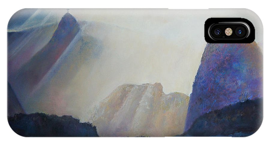 Landscape IPhone X Case featuring the painting Light Skies by Alina Kuzmenko