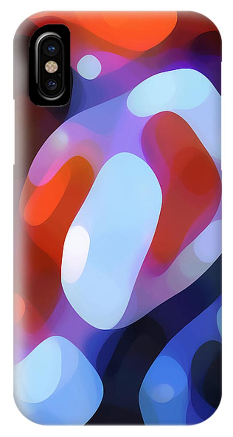 Abstract IPhone X Case featuring the painting Light Through Fall Leaves by Amy Vangsgard