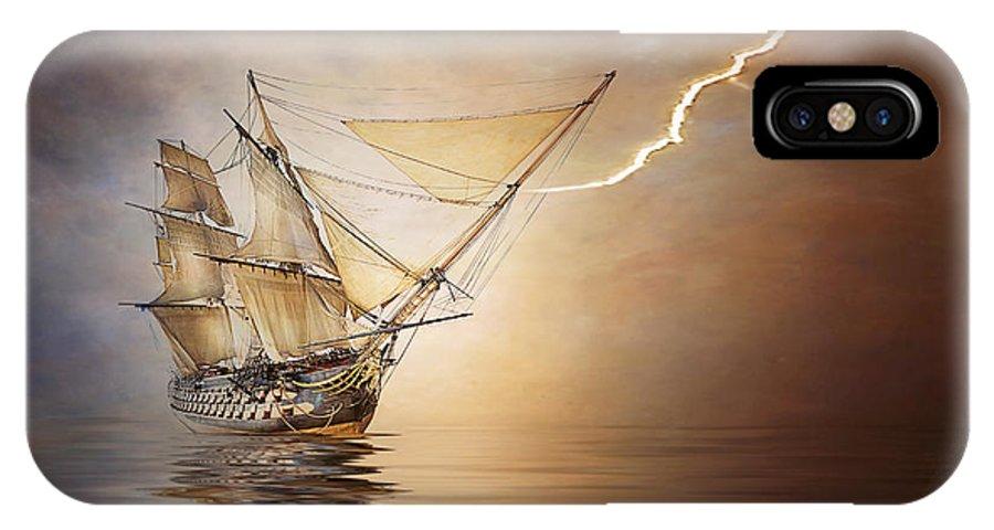 Ship IPhone X Case featuring the photograph Lightening Rod by Stephen Warren