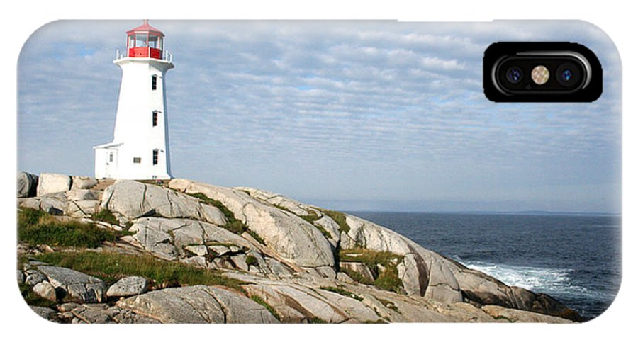 Lighthouse IPhone X Case featuring the photograph Lighthouse At Peggys Point Nova Scotia by Thomas Marchessault