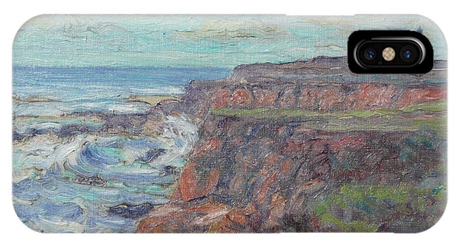 Landscape Painting - Original Oil Painting Artwork; Art Of Lynn T Bright; Fine Art Original Art Of Lynn T Bright IPhone X Case featuring the painting Lighthouse At Point Cabillo by Lynn T Bright