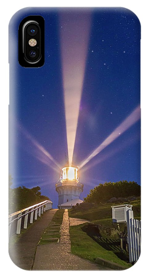 Australia IPhone X Case featuring the photograph Lighthouse Beams By The Southern Cross by Alan Dyer