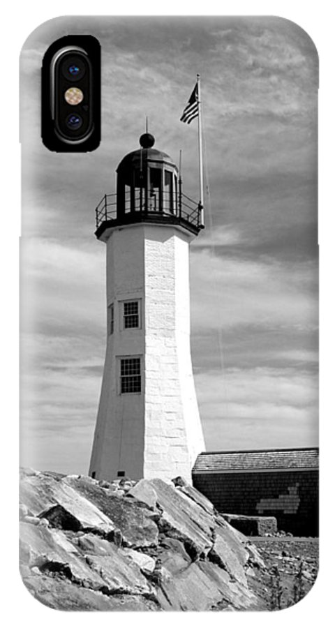 Lighthouse IPhone X Case featuring the photograph Lighthouse Black And White by Barbara McDevitt