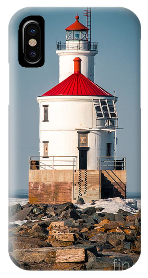 Wisconsin Point IPhone X Case featuring the photograph Lighthouse On The Rocks by Mark David Zahn Photography
