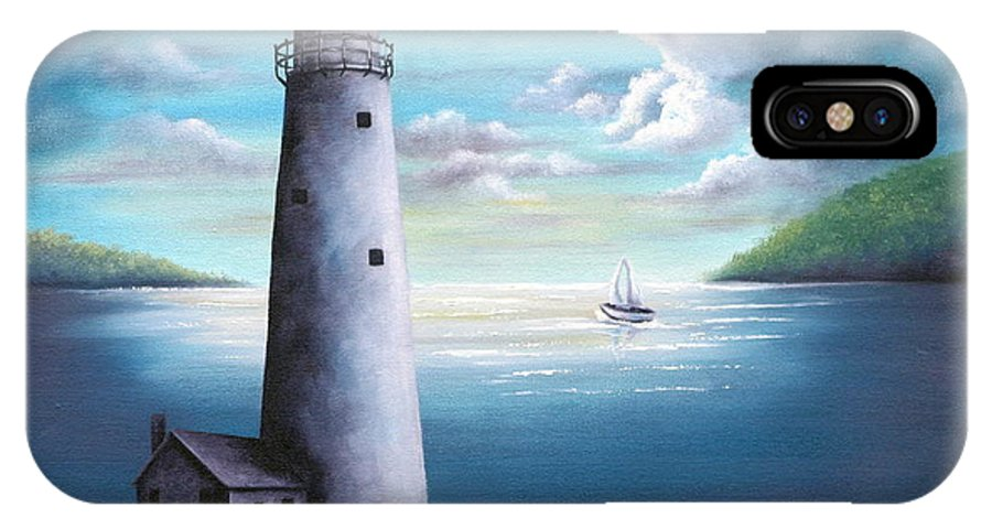 Oil IPhone X Case featuring the painting Lighthouse by Ruth Bares