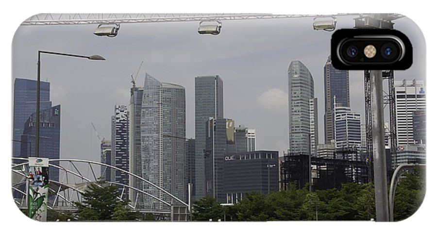 Action IPhone X / XS Case featuring the photograph Lighting Work For The Singapore Formula One And A View Of The Helix Bridge by Ashish Agarwal