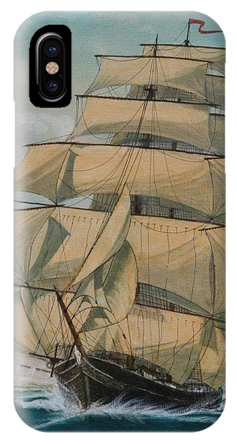 Seascape Of Old Time Sailing Ship IPhone X Case featuring the painting Lightning by J W Kelly