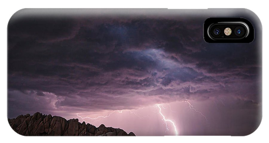Landscapes IPhone X / XS Case featuring the photograph Lightning Over Jumbo Rocks by Tuan Le