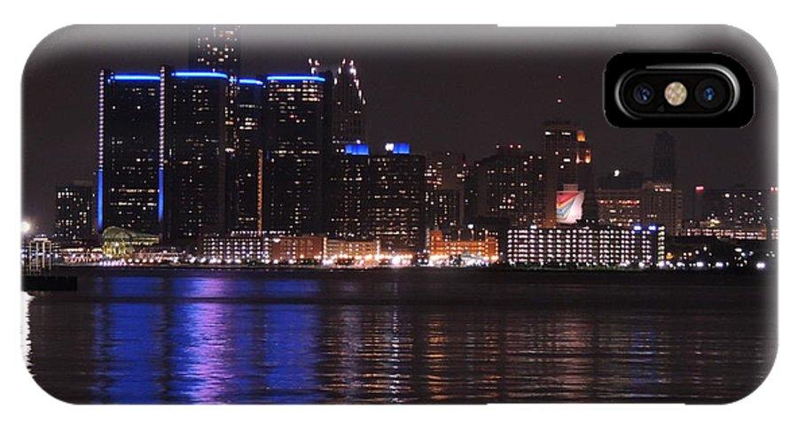 Detroit IPhone X Case featuring the photograph Lights On The Water by Natasha Anderson