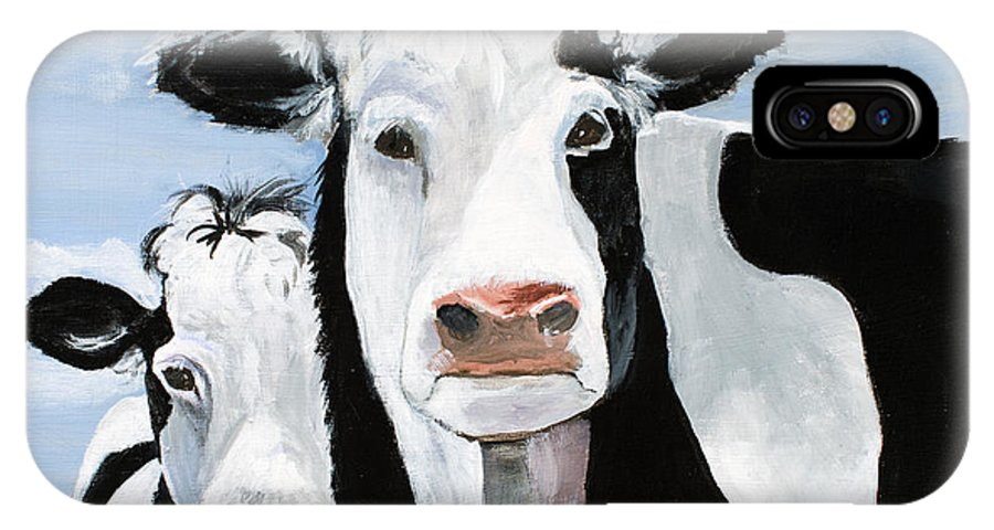 Cows IPhone X Case featuring the painting Like Mother Like Daughter by Wanda McVeigh