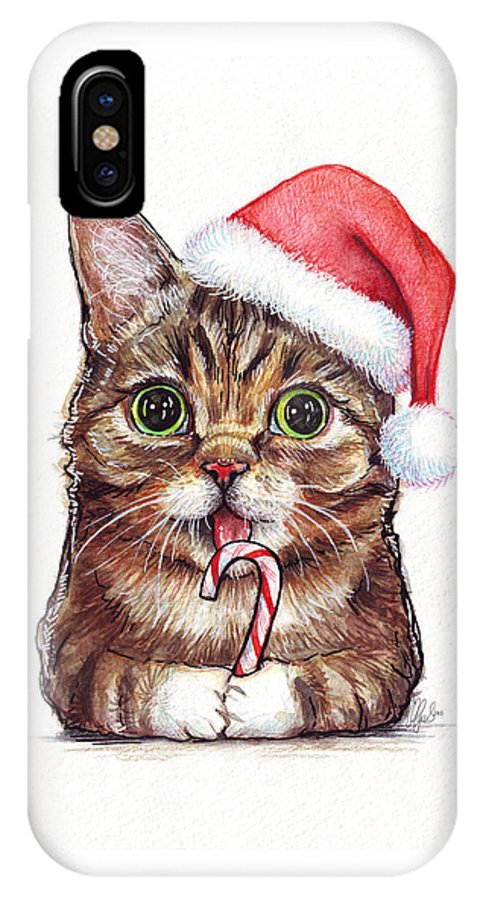 Lil Bub IPhone X Case featuring the painting Cat Santa Christmas Animal by Olga Shvartsur