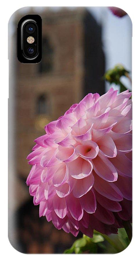 Church IPhone X Case featuring the photograph Lilac Dahlia In An English Churchyard by Mark Woodward